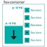 הדגמה ויזואלית של הגדרה direction: column