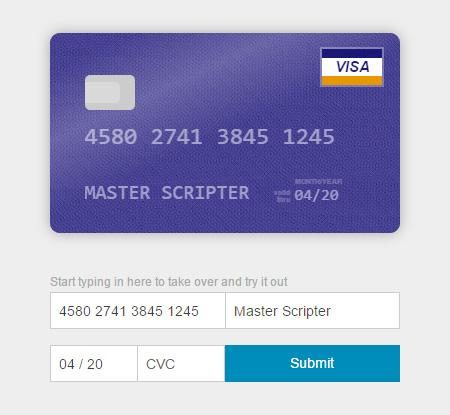 שדות כרטיס אשראי אחרי החלת Card