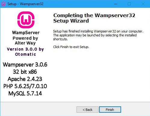 מדריך התקנת WAMP - סיום התקנה
