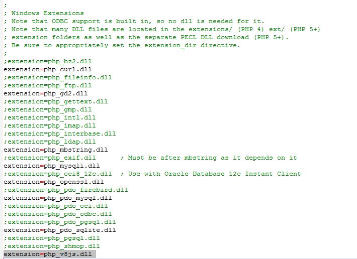 הוספת ההרחבה V8Js לקובץ php.ini